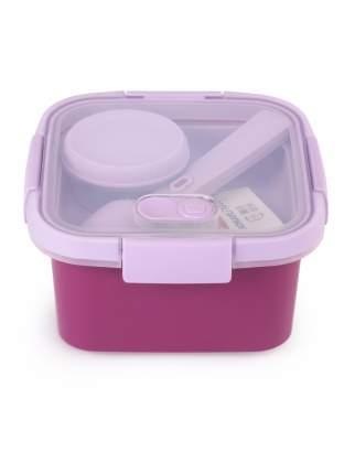 Контейнер пищевой TO GO квадратный с приборами 0.9л фиолетовый
