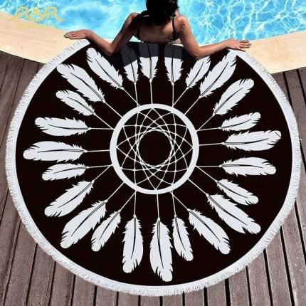 Круглое пляжное покрывало (полотенце) черно-белое Ловец снов 150 cм микрофибра
