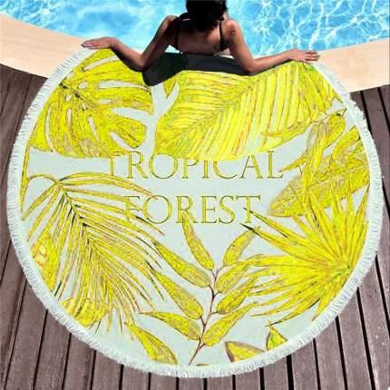 Круглое пляжное покрывало (полотенце) Tropical Forest 150 cм микрофибра