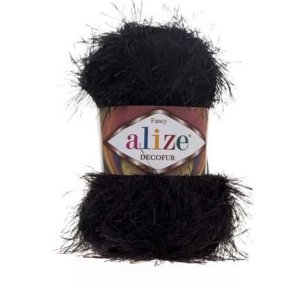 """Пряжа ALIZE травка """"Decofur"""", цвет 60 чёрный, 5 мотков, арт. 364128 ( 5)"""
