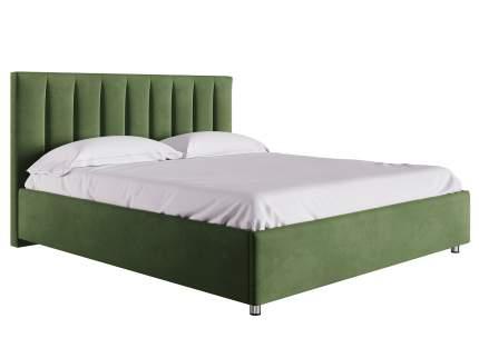 Двуспальная кровать с подъемным механизмом Кармэн Зелёный, микровелюр, 1600х2000 мм