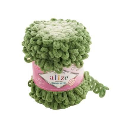 """Пряжа Alize """"Puffy Ombre Batik"""", 55 метров, 2 мотка по 600 грамм, цвет: 7423 зеленый"""