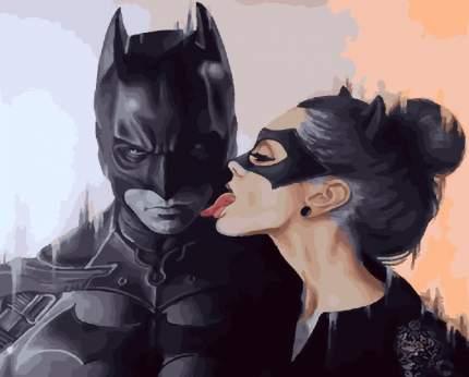 Картины по Номерам на Холсте 40х50 Страсть - Бетмен и женщина-кошка
