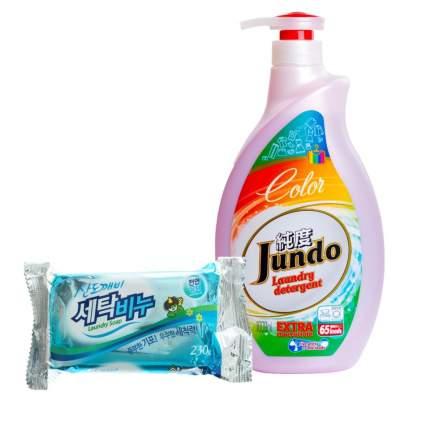 Гель Jundo Color для стирки 1 л  и хозяйственное мыло Sandokkaebi 230 г