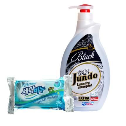 Гель для стирки черного белья Jundo Black 1 л и хозяйственное мыло Sandokkaebi  230 г
