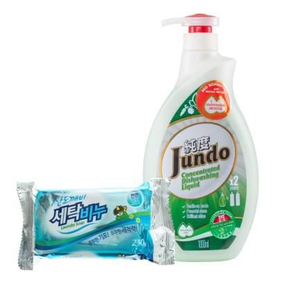 Гель для посуды Jundo Green tea with Mint эко 1 л и хозяйственное мыло Sandokkaebi 230 г