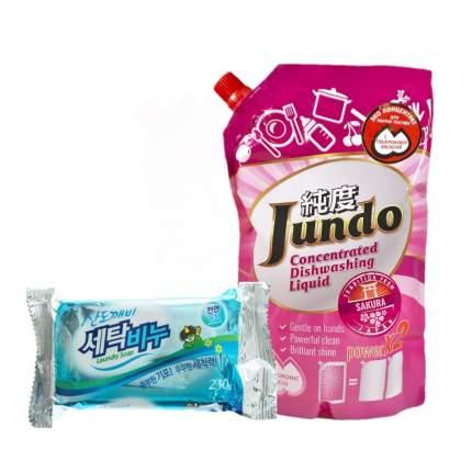 Гель для мытья посуды Jundo Sakura 800 мл и хозяйственное мыло Sandokkaebi 230 г
