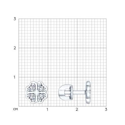 Серьги-пусеты «Клевер» SOKOLOV из серебра с фианитами 94022260