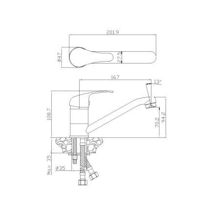 Смеситель для раковины Rossinka Silvermix Y35-22 хром