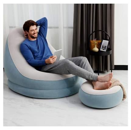 Надувное кресло Bestway 75053-голубой 121 х 100 х 86 см с пуфиком 54 х 54 х 26 см