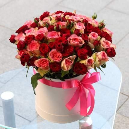 25 роз кения с красными кустовыми розами в коробке