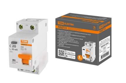 Дифавтомат TDM ELECTRIC АВДТ 32 2P(1P+N) C20 30мА 4,5кА тип АС SQ0202-0504
