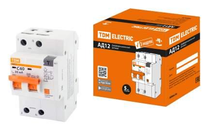 Дифавтомат TDM ELECTRIC АД12 2Р 40А 30мА SQ0204-0116