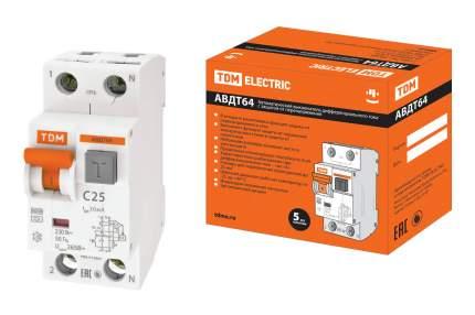 Дифавтомат TDM ELECTRIC АВДТ 64 2Р(1Р+N) C25 30мА тип А SQ0205-0006