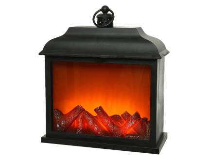Электрический камин КАМЕЛЁК ДЕ-ЛЮТТЕ, чёрный, имитация пламени, 3 LED-огня, Kaemingk