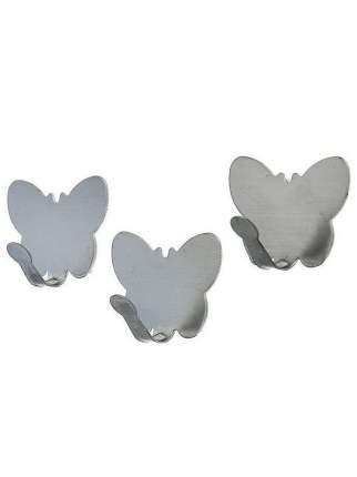 Набор крючков металлических на липучке Бабочки, 3 шт