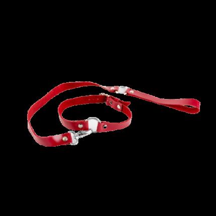 Чокер BDSM Арсенал из натуральной кожи с поводком Red