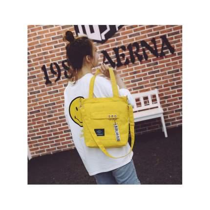 Сумка-шоппер на молнии с карманами Bubilian 00048 желтая