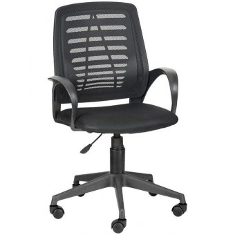 Кресло оператора Olss Ирис, спинка сетка черная, сиденье ткань TW черная, опора-пиастра