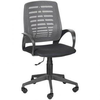 Кресло оператора Olss Ирис, спинка сетка серая, сиденье ткань TW черная, опора-пиастра