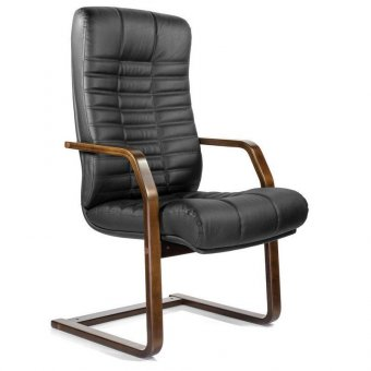 Кресло для приемных и переговорных Атлант-экстра, кожа, дерево (орех), черное