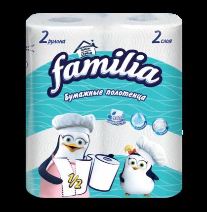 Бумажные полотенца FAMILIA 2 слоя 2 рулона 1/2 листа  в наборе   2шт