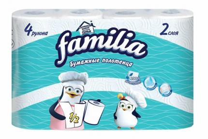 Бумажные полотенца FAMILIA 2 слоя 4 рулона 1/2 листа  в наборе   2шт