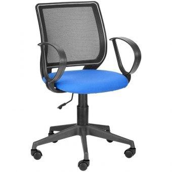 Кресло оператора Olss Эксперт, спинка сетка черная, сиденье ткань B синяя, опора-пиастра