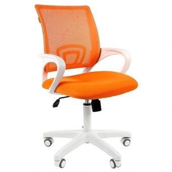Кресло оператора Chairman 696 white, ткань оранжевая/сетка оранжевая,белый пластик