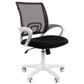 Кресло оператора Chairman 696 white, ткань черная/сетка черная, белый пластик