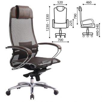 Кресло офисное МЕТТА SAMURAI S-1, кевларовая ткань-сетка, темно-коричневое, 09935