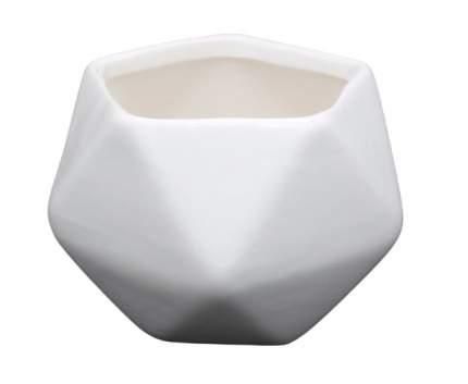 Горшок мини, керамический пятиугольный для цветов, 8x7 см, цвет: белый, арт. AR072
