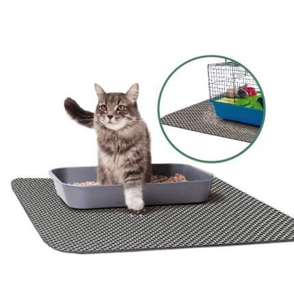 Коврик для кошачьего туалета Зверье мое Чистый пол пластик, резина, серебристый, 75х60 см
