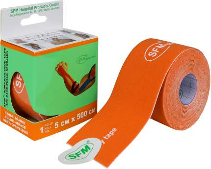 Лейкопластырь кинезио тейп SFM 5 см Х 500 см с логотипом оранжевый