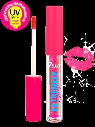Тинт для губ 7DAYS  светящийся с шиммером EXTREMELY CHICK UVglow Neon  201 Pop-rose, 2,5мл