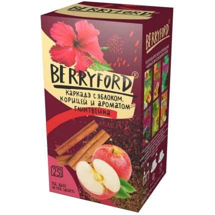 """Чай каркаде Berryford """"С яблоком, корицей и ароматом глинтвейна"""", с добавками, 25 сашетов"""