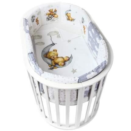 Бортики в детскую кроватку loombee для новорожденных комплект с постельным бельем SK-8134