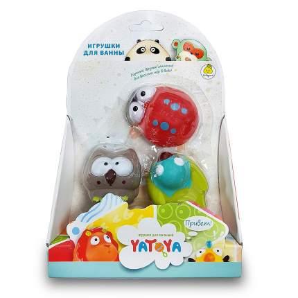 Игрушка для ванной Лесные жители, 3 штуки божья коровка, птичка, сова