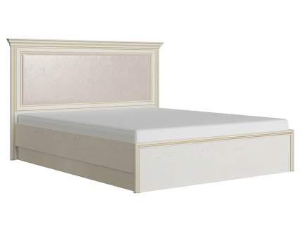 Двуспальная кровать с подъемным механизмом Венето Дуб молочный/Кожа перламутр, 140х200 см