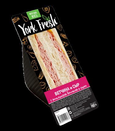 Сэндвич York Fresh ветчиной и сыром охлажденный 140 г