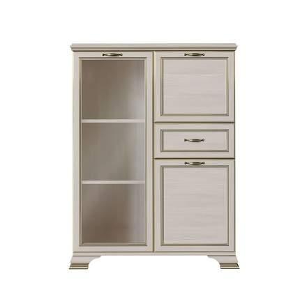 Шкаф-витрина низкий 1 стеклодверь Сиена Бодега белый, патина золото, Без стеклополок