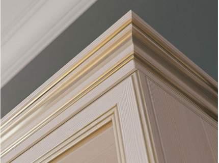 Шкаф-витрина угловой Сиена Бодега белый, патина золото