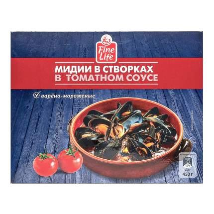Мидии Fine Life в створках в томатном соусе 450 г
