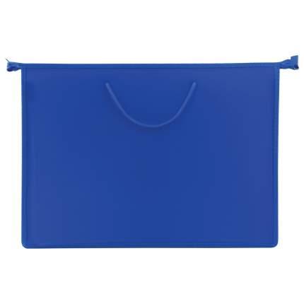 Пифагор А3, пластик, молния сверху, ручки-шнурок, синяя