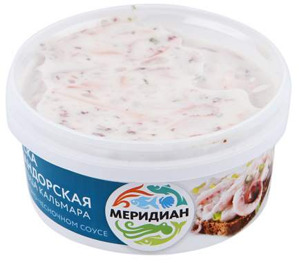 Щупальца кальмара Меридиан Закуска командорская в майонезно-чесночном соусе 190 г