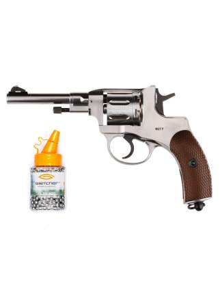 Револьвер пневматический Gletcher NGT F Silver + Дробь Gletcher GL BB-500