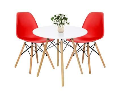 Обеденная группа EAMES DSW Z-231 + Eames Wood Белый/Красный