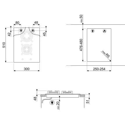 Встраиваемая газовая панель Smeg PV332CN
