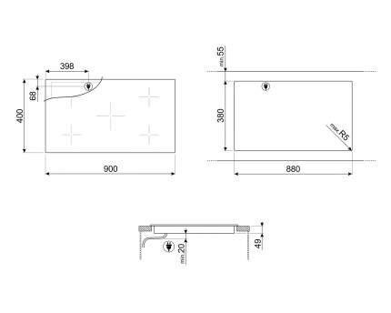 Встраиваемая индукционная панель Smeg SIH7933B