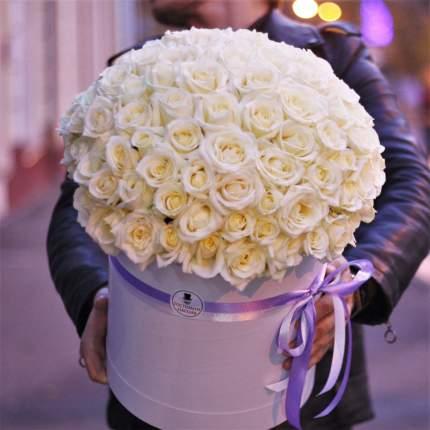 Букет Господин Цветаев 101 белая роза в коробке